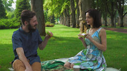 The guy with the girl eat sandwiches with salad on a picnic Footage