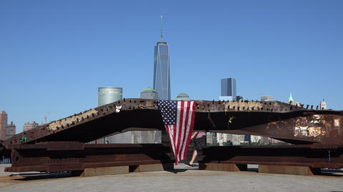 American Flag at 9/11 Memorial Footage
