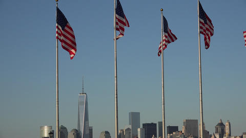 American Flags and City Skyline Footage