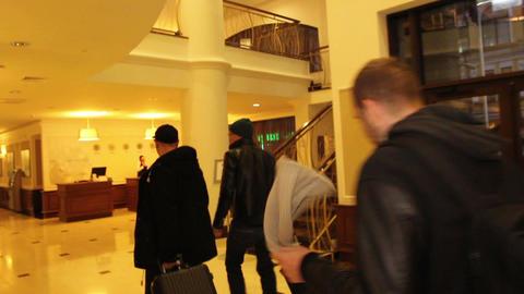 Interior hotel lobby walkthrough to reception Footage