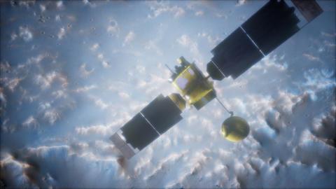 Global Surveyor orbiting Mars planet ビデオ