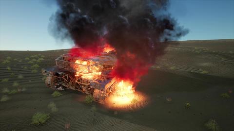 burned tank in the desert at sunset Archivo