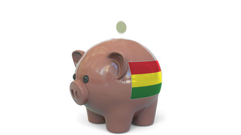 Putting money into piggy bank with flag of Bolivia. Tax system system or savings Live Action