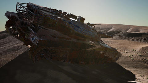 Militairy tanks destructed in the desert at sunset Archivo