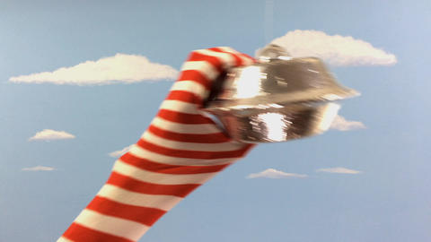 Striped Sock Serpent Monster attacks UFO GIF