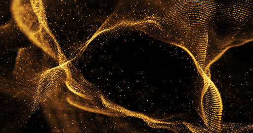 abstract 3d rendering technology plexus gold white dynamic digital surface on black background, Footage