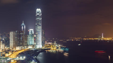 Time Lapse of the amazing skyline of Hong Kong at night GIF