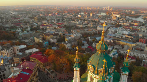 Aerial view of St. Andrew's Church at sunset, Kiev ビデオ