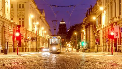 Brussels Belgium Time Lapse Street Night GIF