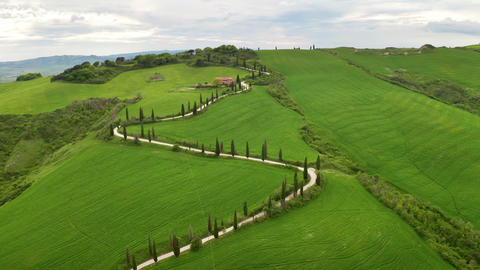 Flying over the beautiful Tuscany Italy landscape Archivo