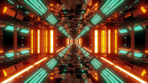 futuristic scifi space hangar tunnel corridor 3d illustration with bricks Animation