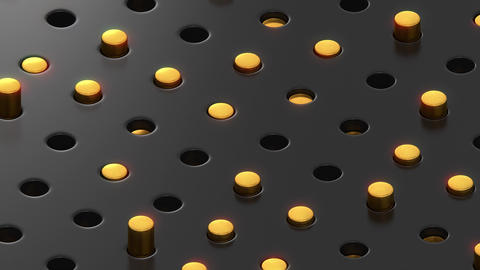 Isometric Sliding Golden Ingots Oscilating in Holes on Black Surface Videos animados