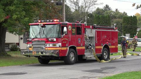 Fire Truck in Residential Neighborhood Footage