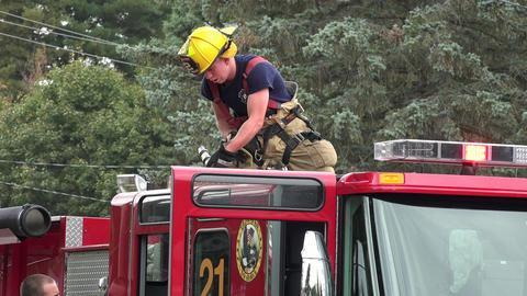 Fire Trucks and Firemen Footage