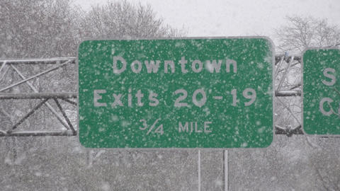 Traffic Sign During Snow Storm Live Action