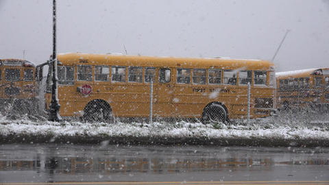 School Bus During Snow Storm Live Action