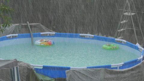 Swimming Pool In Rain Footage