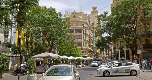 People Walking Downtown Valencia City In Spain Footage