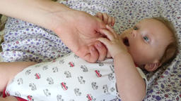 Father Holding Baby Hand Footage