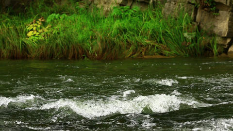 Rocky shore of mountain river Footage