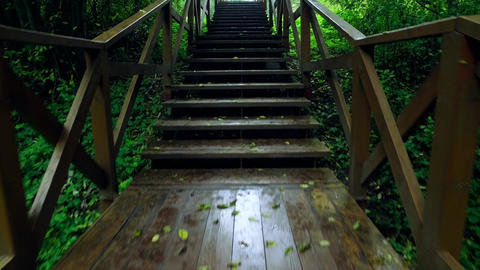 Walk Up via Wooden Stairs with Railing Footage
