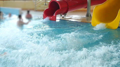Happy Teen Have Fun On Aqua Park Footage