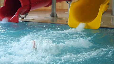 Happy Child Having Fun In Aquapark Footage