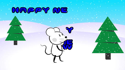 Mouse rat character juggling with new year sign GIF