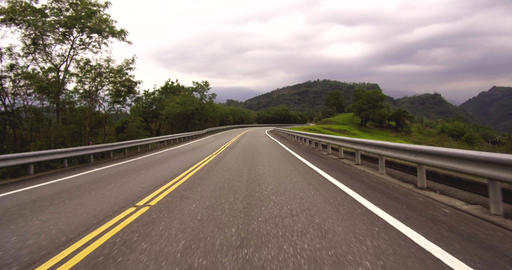 Driving car on mountain curve road Live Action