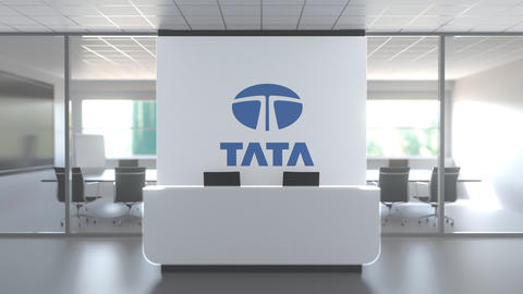 Logo of TATA on a wall in the modern office, editorial conceptual 3D animation Live Action