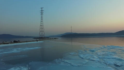 Aerial view of Cape Egersheld. Vladivostok, Russia Live Action