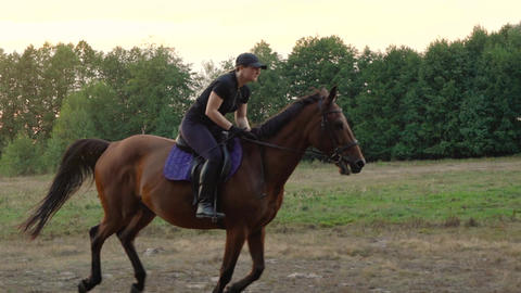 Woman riding horse by gallop. Horseback riding in slow motion Footage