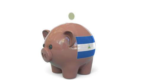 Putting money into piggy bank with flag of Nicaragua. Tax system system or Live Action