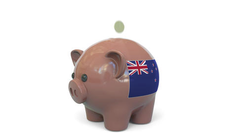 Putting money into piggy bank with flag of New Zealand. Tax system system or Live Action