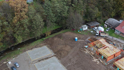 Residential housing construction site, aerial view Footage