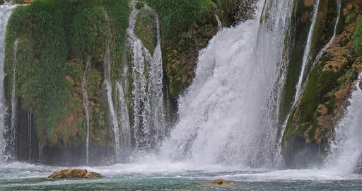 Skradin's Waterfall, Skradinski Buk, Krka Natural Park, Near Sibenik in Damaltia, Croatia, Real Time Footage