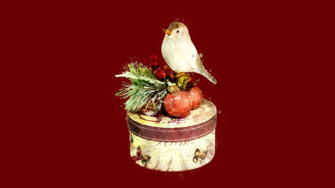 Watercolor Christmas tree decoration - bird on a gift box, on the alpha channel Animation