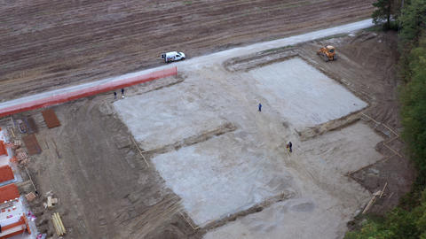 Residential housing construction site, aerial view GIF