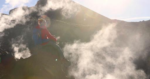 Adventure - People Hiking On Active Volcano Tongariro National Park New Zealand Footage