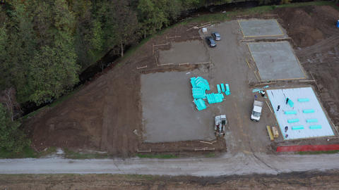 Residential housing construction site, aerial view Archivo