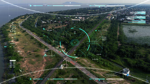 Aerial view scenic landscape with drone user interface with graph bar scale for cyber and futuristic GIF