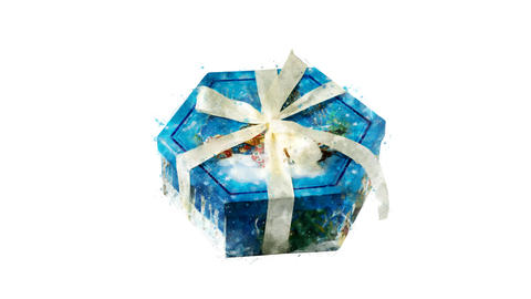 Watercolor Christmas tree decoration - hexagon gift box, on the alpha channel GIF