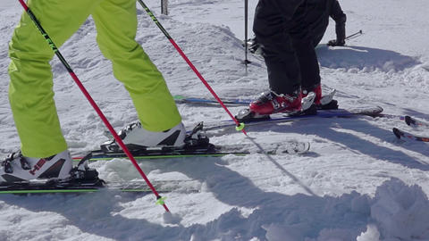 Beginner Skier Makes a Turn. Close-up. Slow Motion Footage