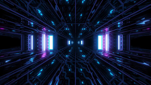 futuristic textured sci-fi space hangar tunnel cooridor 3d illustration motion Animation