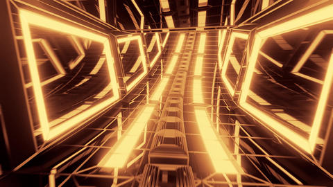 futuristic glowing scifi science-fiction glass tunnel 3d illustration motion Animation