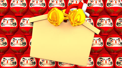 Red Daruma Dolls And Votive Picture On Red Background Animation