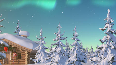 Santa Claus with Reindeer Goes on the Way from House of Santa in Lapland Animation