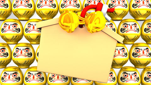 Yellow Daruma Dolls And Votive Picture On White Background Videos animados