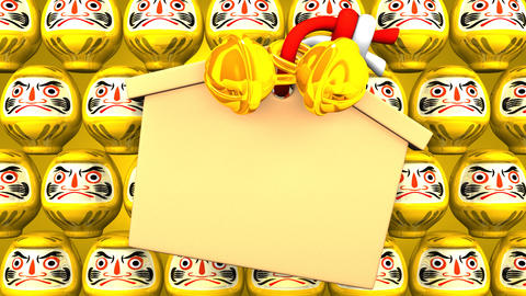 Yellow Daruma Dolls And Votive Picture On Yellow Background Videos animados