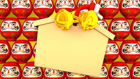 Red Daruma Dolls And Votive Picture On Yellow Background Videos animados